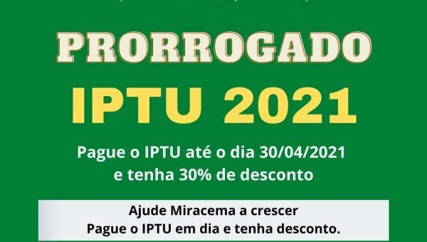 PAGAMENTO DO IPTU-2021 COM DESCONTO FOI PRORROGADO